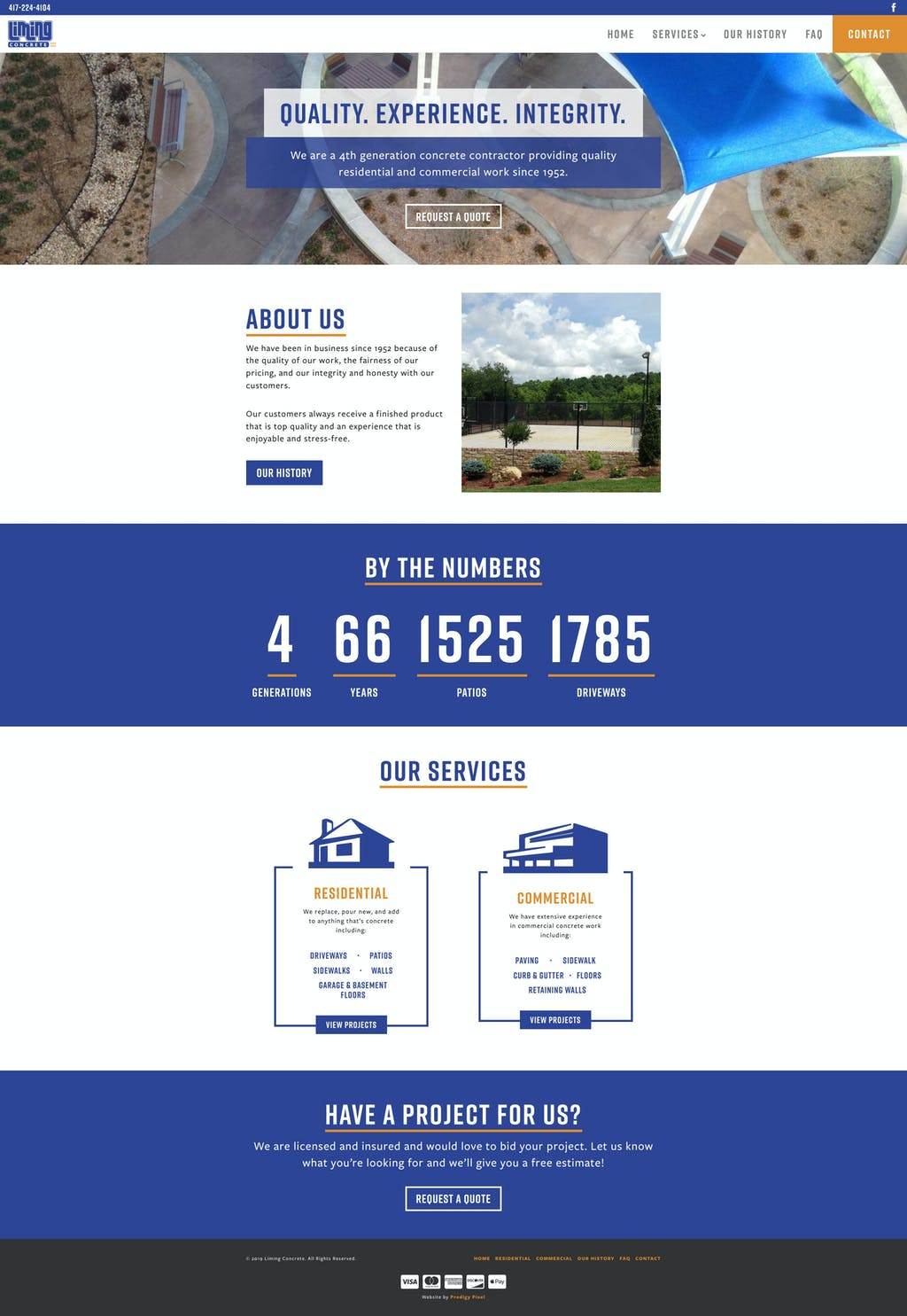 Liming Concrete website design